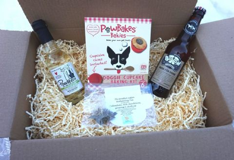 DOG PARTY PACK DOG HAMPER WITH DOG WINE DOG BEER DOG TEA AND DOG CUPCAKE KIT
